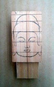 仏頭の彫り方(下絵を書く1)