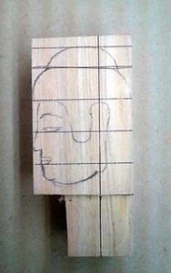 仏頭の彫り方(下絵を書く2)