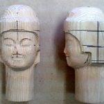 仏頭の彫り方~釈迦如来編~ その5(お顔を丁寧に彫り進める)