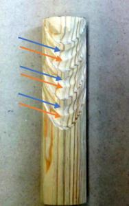翻波式の彫り方(稜線があらわれる)