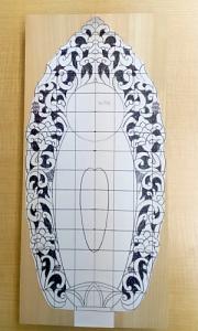 下絵に合わせて余計な部分をカット(舟形光背の彫り方)