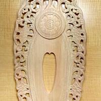 舟形光背(透かし唐草)の彫り方 その3(光脚部、身光部、頭光部を彫る)