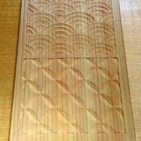 青海波と七宝つなぎの木彫り