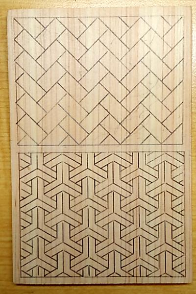 檜垣と組亀甲の下絵を写す
