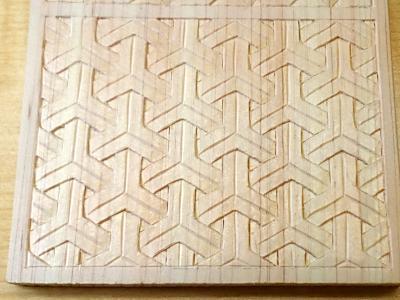 組亀甲の木彫り完成