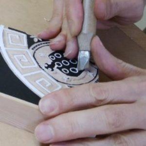 カメの甲羅模様を彫るその1
