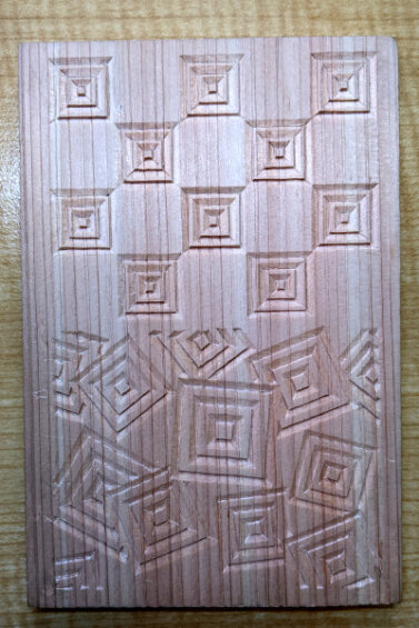 三枡繋ぎと三枡散らしの木彫サンプルv2