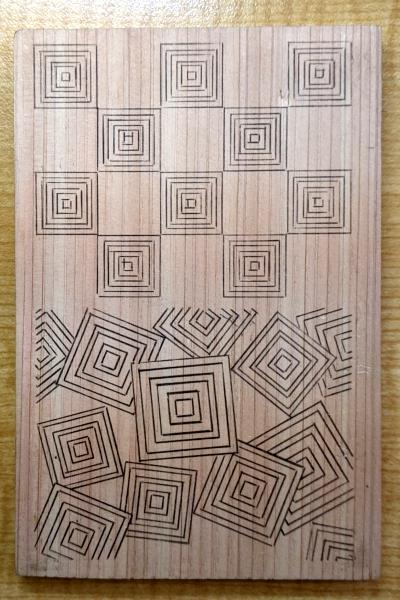 三枡繋ぎと三枡散らしを木に写す