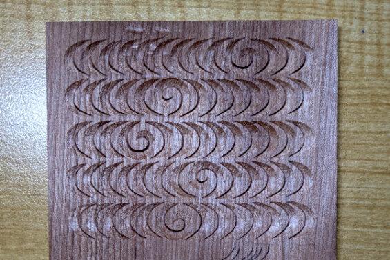 流水(観世水)の木彫り完成