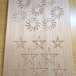 毛卍文、五芒星の木彫り完成