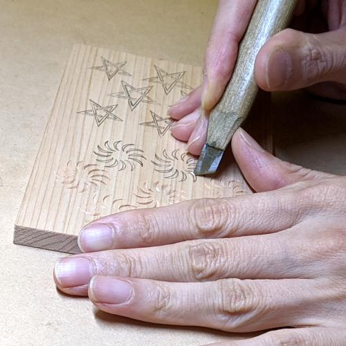 毛卍文パターン2_曲面を彫る
