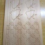 千鳥、千鳥格子の木彫り完成